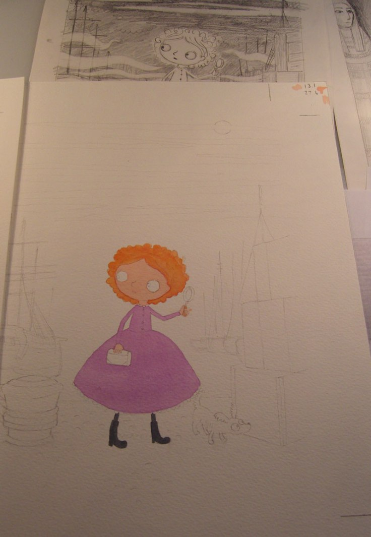 Here is the cover all drawn out on watercolour paper and I've just begun painting with the most important bit - Maisie!