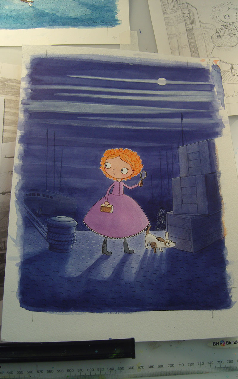 Now the cover is nearly finished; I've added highlights to give the feel of moonlight and everything has an outline to bring it all into sharp focus.