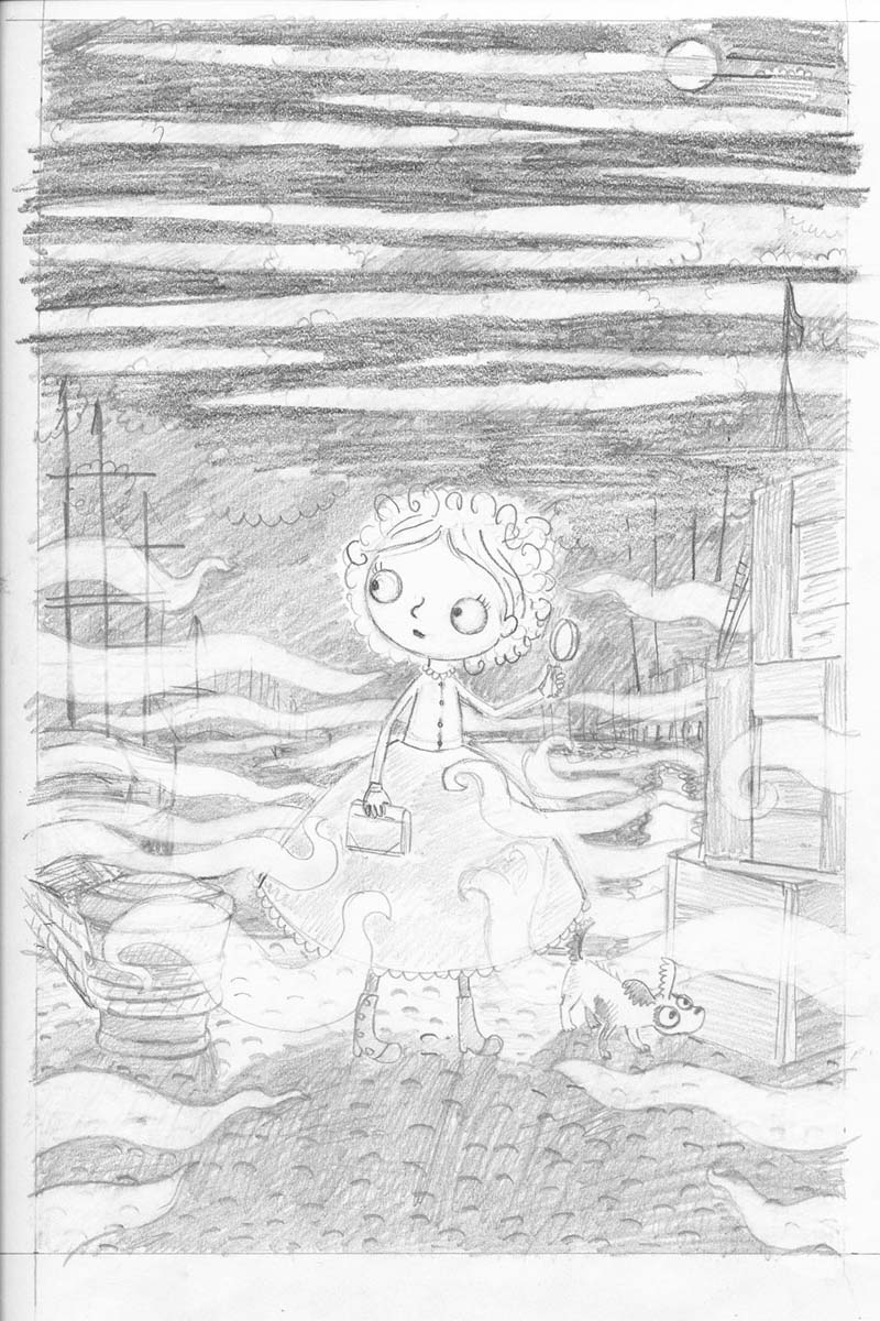 Here is the sketch for the cover ready to be transferred onto watercolour paper, as you can probably see I changed my mind about how the clouds were going to look!